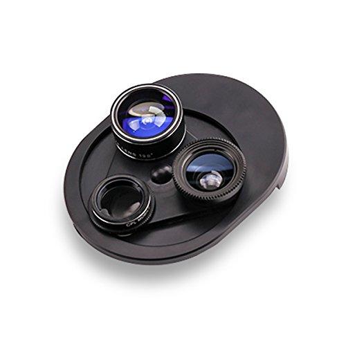 Fisheye Mobile Objektiv, YOUXIU 4 in 1 Drehbar Clip-On Kamera, 198° Fisheye + 0,63X Weiter Winkel + 15X Macro Objektiv + CPL Polarisator für iPhone Huawei Samsung HTC und andere Smartphones(Schwarz)