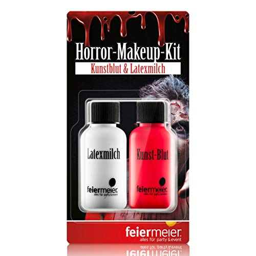 Makeup-Set Best. aus Kunst-Blut 29,5ml & Latexmilch Horrorhaut 29,5ml Wunde, Zombie, Halloween, Theaterschminke ()