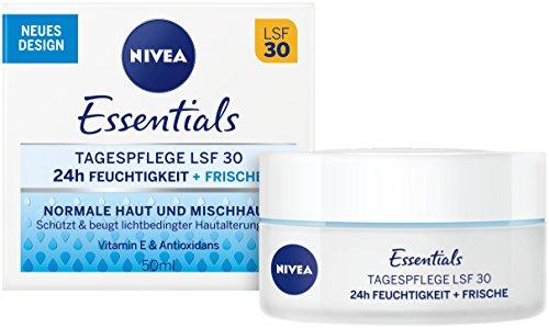 NIVEA Essentials Tagespflege 24h Feuchtigkeit + Frische im 2er Pack (2 x 50 ml), Feuchtigkeitscreme mit LSF 30, Tagescreme für normale & Mischhaut