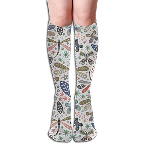 CVDFVFGB Compression Socks Dragonfly Flower Wing High Boots Stockings Long Hose for Yoga Walking for Women Man