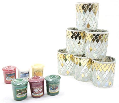 6 x Official Yankee Candle Festive Season Celebrate Luxury Diamond Mosaic Glass Votive Holders + 6 Assorted Christmas Fragrance Samplers