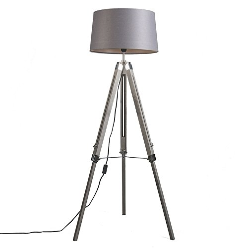 Qazqa Industrial Design Floor Lamp With Shade 45 Cm Linen Dark Gray Tripod Wood Fabric Oblong