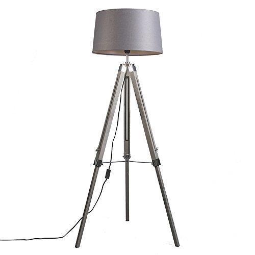 QAZQA Industrial Lámpara de pie TRIPOD vintage con pantalla 45cm de lino gris oscuro Madera/Metálica/Textil Alargada Adecuado para LED Max. 1 x 25 Watt