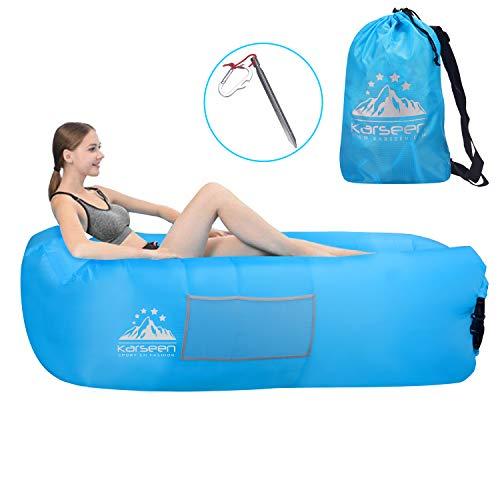 Karseen - divano gonfiabile impermeabile con poggiatesta, divano portatile ad aria gonfiabile, lettino ad aria per cortile/piscina/spiaggia/campeggio, unisex, blue, m
