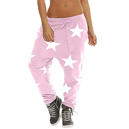 Rock-star-jumpsuit (Yazidan Damen Haremshosen Knopf mittlere Taille lose Baggy Harem Sporthose Star Print Hosen Casual Hose Baggy Hip Hop Rock Hose Tanz Cargo Jogger Sweat Pants Hose KüHle Straße)
