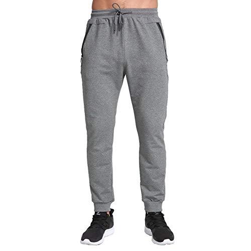 Tansozer Jogginghose Herren mit Reißverschluss Trainingshose Herren Baumwolle Sporthose Herren Lang Sweat Fitness Hosen Männer Grau XL