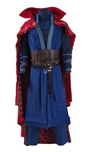 Film Doctor Blau Robe und Rot Umhang Kostüm Herren Halloween Kostüm Outfit (Vollständiger Set, M)