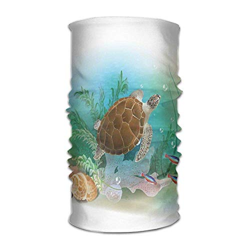 ERCGY Woman Men's Turban Sea Turtle Swims in The Ocean Tropical Underwater World Aquarium Illustration Print Custom Headkerchief