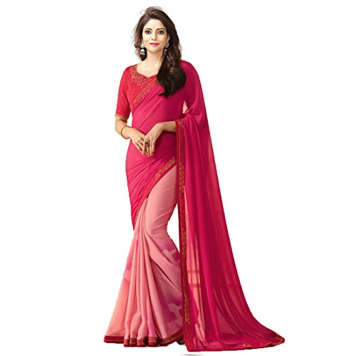TAGLINE Georgette Saree With Blouse Piece (TAG51213_Pink_Free Size)