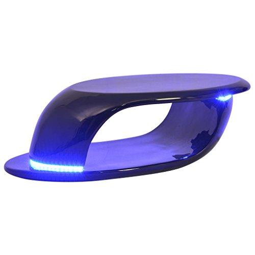 vidaXL Table Basse avec lumière LED Fibre de Verre Noire