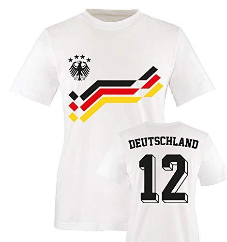 EM 2016 - Retro-Trikot - Deutschland - 12 - Kinder T-Shirt - Weiss/Schwarz-Rot-Gelb Gr. 152-164