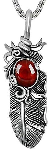 Titanium Steel Necklaces, Men's Pendant Necklaces Ruby Garnet Red Feather Shape Red Epinki