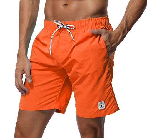SHEKINI Homme Short de Bain Séchage Rapide Maillot de Bain Shorts de Plage Été De Plein Air Beach Shorts pour Surf Board Shorts Swim Trunks Court de Sport avec des Poches (28, Orange)