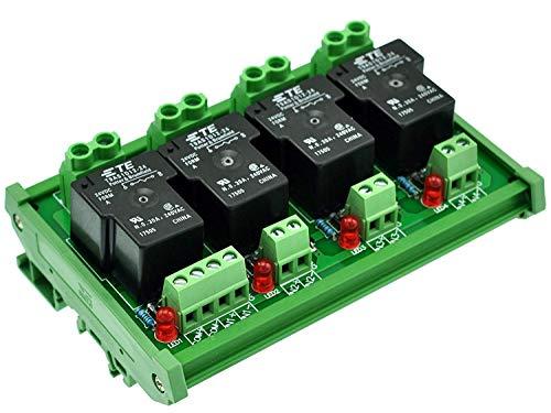 Electronics-Salon DIN-Schienen Coil 24 V Passive 4-Kanal spst-no 30 A 30 AMP POWER RELAY-MODUL. -