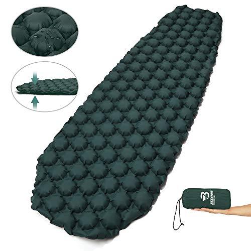 Bessport Isomatte Camping, mit 5.8cm Dicke Schlafmatte Kleines Packmaß Ultraleicht Aufblasbare Luftmatratze - Bequem 40D Ripstop Nylon Matte, ideal für Outdoor, Wandern, Camping -Grün -
