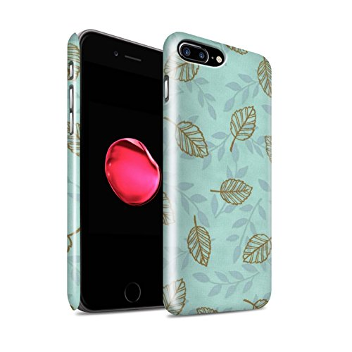 STUFF4 Glanz Snap-On Hülle / Case für Apple iPhone 8 Plus / Blau/Grün Muster / Blatt/Ast Muster Kollektion Türkis/Braun