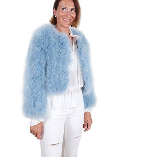 EYES ON MISHA Damen Jacke Mantel kurz Bolero aus Feder langarm warm für Herbst Winter elegant festlich für Party Hochzeit Braut La Fiffi (Blau (Hellblau), S 36/38) WINTER SALE