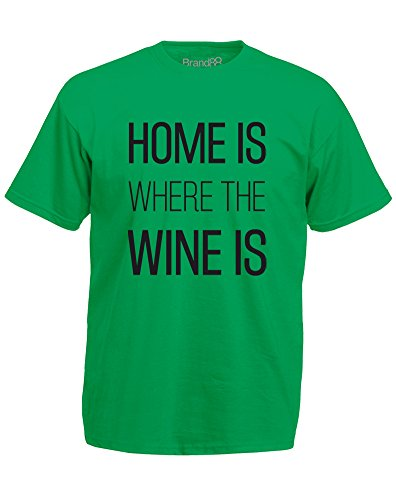 Brand88 - Home is Where the Wine is, Mann Gedruckt T-Shirt Grün/Schwarz