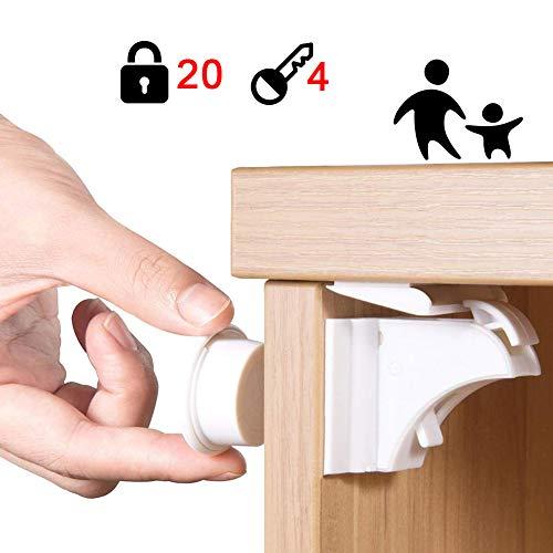 Douer Baby Sicherheit Magnetisches Schrankschloss(20 Schlösser + 4 Schlüssel), Kindersicherung Schloss für Schränke und Schubladen, Unsichtbare Klebeband, Ohne Bohren oder Werkzeug