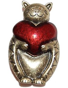 Small Island Brosche Katze mit Herz Bronze, mit Geschenkbeutel