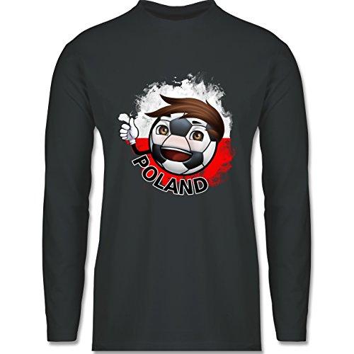 EM 2016 - Frankreich - Fußballjunge Polen - Longsleeve / langärmeliges T-Shirt für Herren Anthrazit