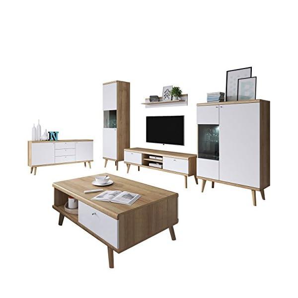 Wohnzimmer Primo I Elegantes Wohnzimmer Set Im Skandinavischen Stil Kommode Couchtische Tv Lowboard Und Zwei Vitrine Komplett