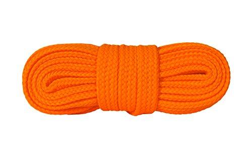 Kaps Sneakers Lacci, Lacci per Scarpe durevoli di qualit? per Calzature Casual, Made in Europe, 1 Paio, Molti Colori e Lunghezze (140 cm - 8 a 10 Paia di Occhielli - Arancione Fluorescente)