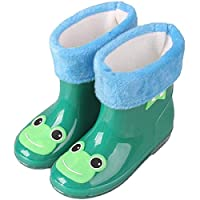 LYXFZW,Rain Boots For Kids,girls,Rubber Wellington Boots Children With Soft Plush Warm Lining Cute Waterproof Non-Slip Boys Easy Wipe Green Frog Removable For Outdoor School Garden