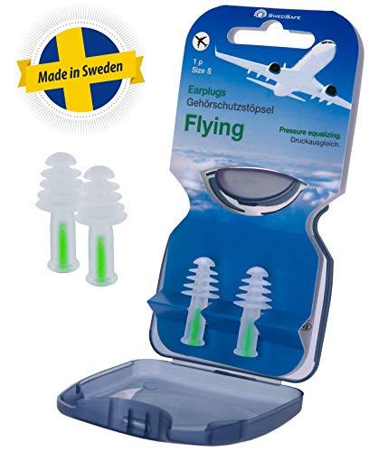 Swedsafe Ohrstöpsel Flugzeug Damen & Kinder - Ideal für Druckausgleich und Schlaf beim Fliegen Small inkl. Box