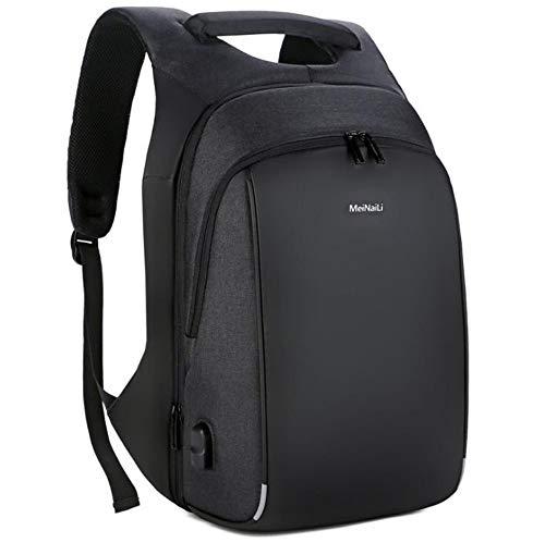 Laptop Rucksack,Travel Business USB Wasserdichte, reflektierende und atmungsaktive 15,6-Zoll-Notebook-Schultertasche für Herren, schwarz Daypack Schulrucksack Backpack