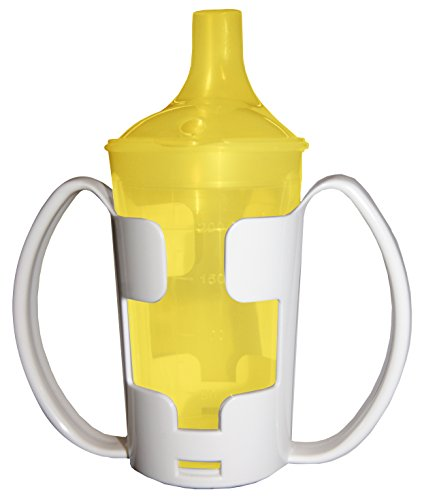 Schnabelbecher Trinkbecher Becher für Tee und Brei, langes Mundstück, mit Halter gelb