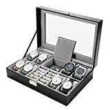 Vemupohal Luxury Black Leather Watch Box Case Jewelry Collection Storage Organizer Display Watch Boxes (8 Watches(Black))
