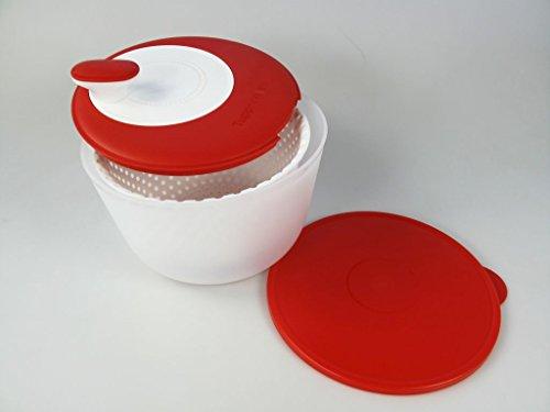 Tupperware - Ciotola per Insalata con Sistema a Rotazione, Rosso, Nuovo