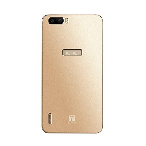Premium Oats Huawei Honor 6 Plus Schutzhülle mit stylischer Aluminium Vorder und Rückseite Transparente Vorderseite Hülle Hard Cover Flip Back Case Tasche - von OKCS in Silber Gold