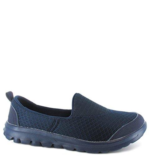 Mesdames Ella Slip En Mousse Mémoire Sur Maille Flexi Pumps Ballerines Comfort, Go Shoes Taille 3 - 8 Navy