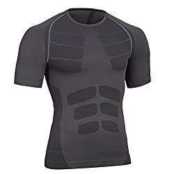 Fitsund Herren Kompressionshirt Atmungsaktive Fitness Kurzarm Shirt (Schwarz, XL)