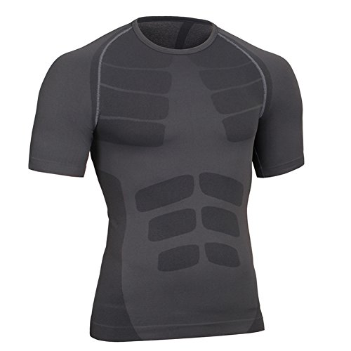 Fitsund Herren Kompressionshirt Atmungsaktive Fitness Kurzarm Shirt (Schwarz, L)