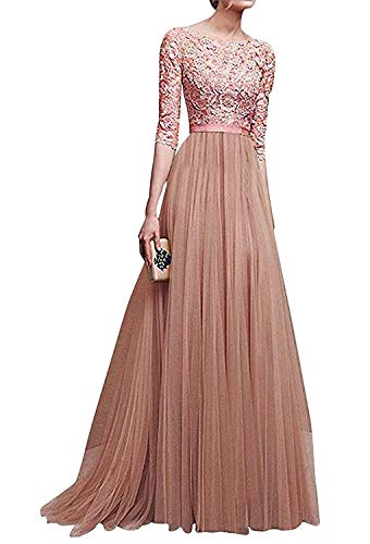 Minetom Elegant Spring and Summer Evening Dress Chiffon Dress Sleeves Round Neck Fairy Skirt Multi-Color Optional Rosa DE 36