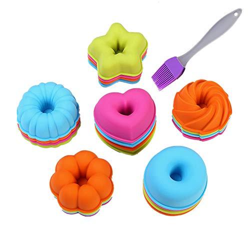 Mini Bundt Cake Pan (24 Stück Donut Kuchenformen Set KeepingcooX - Silikon geriffelte Dessertform, kleine Bundt Kuchenformen - Kürbis, Stern, Blume, Herz, Savarin Formen Formen für Mini Cakes)