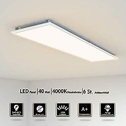 Plafonnier LED 120x30cm 40W Ultra-mince Dalle Lumineuse Suspension Luminaire Lampe de plafond éclairage intérieur pour cuisine,bureau, salle à manger blanc neutre 4000k Clips de montage Cadre blanc
