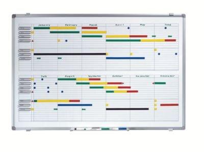 Jahresplaner - BxH 900 x 600 mm - mit Halbjahres- und 365-Tage-Einteilung - Infotafel Magnettafel Magnetwand Planungstafel Präsentationstafel Schreibtafel Tafel Wandtafel Whiteboard