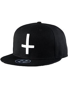 Aivtalk - Hip Hop Negro Sombrero Gorra de Béisbol con Bordado de Cruz Snapback Ajustable Moda para Hombre Mujer