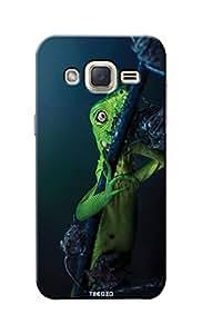 Tecozo Designer Printed Back Cover / Hard Case for Samsung Galaxy J2 (Green Chameleon/ Animals &Nature)