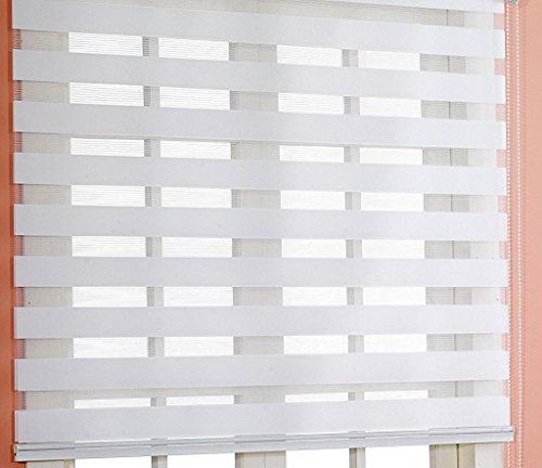 Estor noche y día enrollable a medida PREMIUM con cajón de aluminio blanco tejido color blanco. Medida 200cm x 160cm para ventanas y puertas