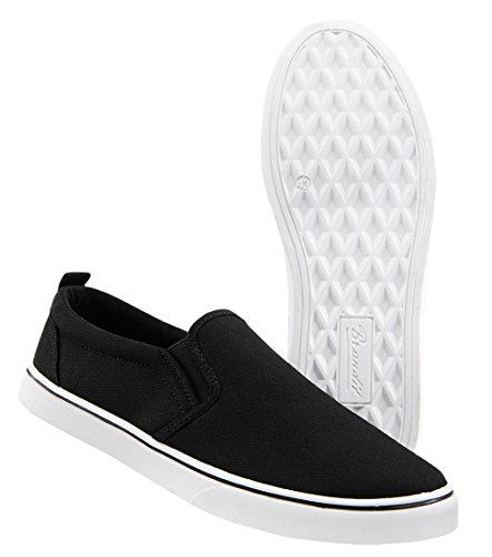Brandit Southampton Slip on Sneaker, Schwarz Mir weißer Sohle, EU47 - Skateboard Schuh