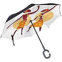 LIANCHENYI - Paraguas Extensible de Doble Capa, para Mujer, Recto, de Reserva de