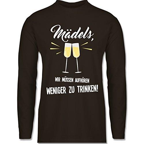 Shirtracer Statement Shirts - Mädels, Wir Müssen Aufhören Weniger zu  Trinken - Herren Langarmshirt Braun