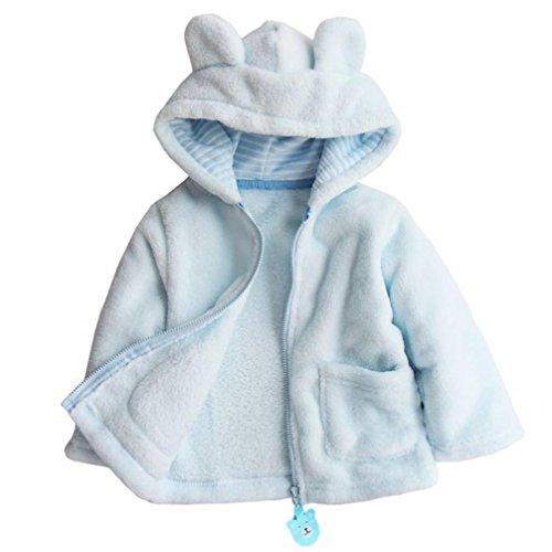 Oyedens Cute Baby Boy Girl Felpe con cappuccio cappotto superiore spesso caldo corallo velluto Outerwear bianco Blue 18-24 mesi