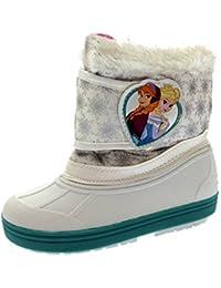 Disney–Zapatillas infantiles para niñas Frozen Elsa Anna botas de nieve impermeable lluvia botas de agua tamaño 7–13