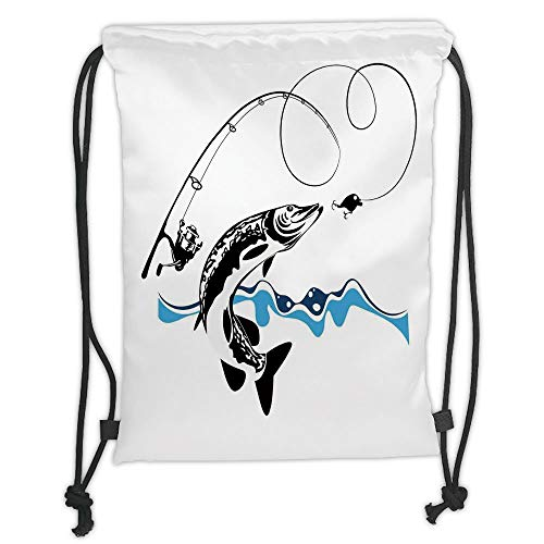 Fashion Printed Drawstring Backpacks Bags,Fishing Decor,Big Pike Fish Catching Wobblers Reel Trap in River Raptorial Predator Print,Black Blue Soft Satin,5 Liter Capacity,Adjustable String Closure (Light Reel Christmas)